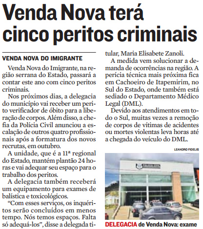 Venda Nova terá cinco peritos criminais